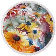 Round Beach Towel featuring the painting Daisies by Jani Freimann