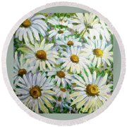 Daisies Round Beach Towel by Jeanette Jarmon