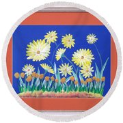 Round Beach Towel featuring the painting Daisies by Ron Davidson