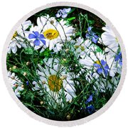 Daisies With Blue Flax And Bee Round Beach Towel