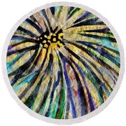 Round Beach Towel featuring the painting Daisy Blue by Joan Reese