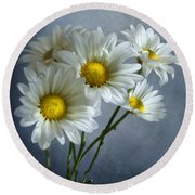 Round Beach Towel featuring the photograph Daisy Bouquet by Ann Lauwers