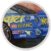 Dale Earnhardt's 1987 Chevrolet Monte Carlo Aerocoupe No. 3 Wrangler  Round Beach Towel by Anna Ruzsan