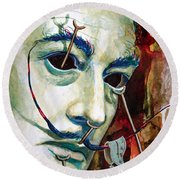 Round Beach Towel featuring the painting Dali 2 by Laur Iduc