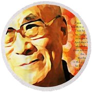 Dali Lama And Man Round Beach Towel