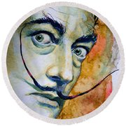 Round Beach Towel featuring the painting Dali by Laur Iduc