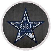 Dallas Cowboys Football Team Retro Logo Texas License Plate Art Round Beach Towel