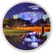Round Beach Towel featuring the photograph Dallas Cowboys Stadium At Night Att Arlington Texas Panoramic Photo by Jon Holiday