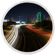 Dallas Night Light Round Beach Towel