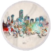 Dallas Painted City Skyline Round Beach Towel by World Art Prints And Designs