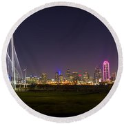 Dallas Skyline And Margaret Hunt Hill Bridge Round Beach Towel by David Morefield