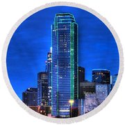 Dallas Skyline Hd Round Beach Towel