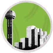 Dallas Skyline Reunion Tower - Olive Round Beach Towel