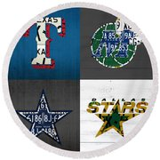 Dallas Sports Fan Recycled Vintage Texas License Plate Art Rangers Mavericks Cowboys Stars Round Beach Towel