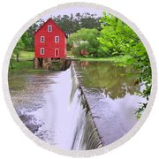 Dam At Starrs Mill Round Beach Towel