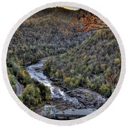 Round Beach Towel featuring the photograph Dam In The Forest by Jonny D