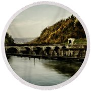 Dam On Adda River Round Beach Towel