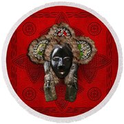 Dan Dean-gle Mask Of The Ivory Coast And Liberia On Red Leather Round Beach Towel