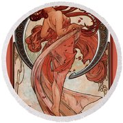 Dance Round Beach Towel by Alphonse Maria Mucha