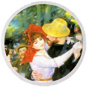 Dance At Bougival Detail Round Beach Towel