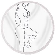 Round Beach Towel featuring the drawing Dance by Gabrielle Wilson-Sealy