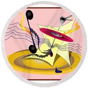 Dance Music Round Beach Towel