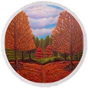 Round Beach Towel featuring the painting Dance Of Autumn Gold With Blue Skies Revised by Kimberlee Baxter