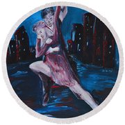 Dance The Night Away Round Beach Towel by Donna Blackhall
