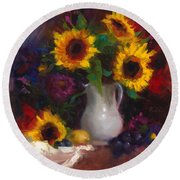 Dance With Me - Sunflower Still Life Round Beach Towel