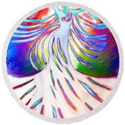 Round Beach Towel featuring the painting Dancer 4 by Anita Lewis