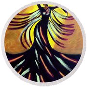 Round Beach Towel featuring the painting Dancer by Anita Lewis