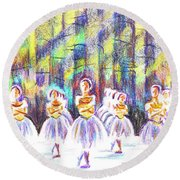 Round Beach Towel featuring the painting Dancers In The Forest by Kip DeVore