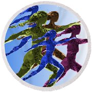 Dancers Round Beach Towel by Mary Armstrong