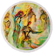 Dancers Round Beach Towel by Mary Schiros