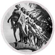 Dancers Practice On Palm Tree Round Beach Towel