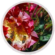 Dancing Bees And Wild Roses Round Beach Towel by Absinthe Art By Michelle LeAnn Scott