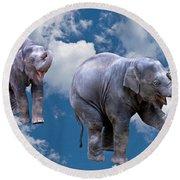Dancing Elephants Round Beach Towel by Jean Noren