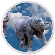 Dancing Elephants Round Beach Towel