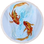 Round Beach Towel featuring the painting Dancing Koi Sold by Antonia Citrino