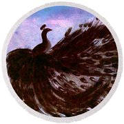 Round Beach Towel featuring the digital art Dancing Peacock Blue Pink Wash by Anita Lewis