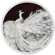 Dancing Peacock Burgundy Round Beach Towel by Anita Lewis
