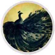 Round Beach Towel featuring the painting Dancing Peacock Gold by Anita Lewis