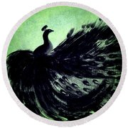 Round Beach Towel featuring the digital art Dancing Peacock Green by Anita Lewis