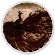 Round Beach Towel featuring the painting Dancing Peacock Grey by Anita Lewis