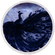 Round Beach Towel featuring the painting Dancing Peacock Navy by Anita Lewis