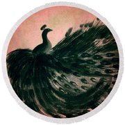 Round Beach Towel featuring the digital art Dancing Peacock Pink by Anita Lewis