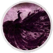 Round Beach Towel featuring the painting Dancing Peacock Plum by Anita Lewis