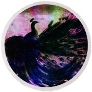 Round Beach Towel featuring the digital art Dancing Peacock Rainbow by Anita Lewis