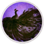 Round Beach Towel featuring the digital art Dancing Peacock Vivid Blue by Anita Lewis