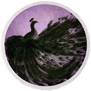 Dancing Peacock Vivid Purple Round Beach Towel by Anita Lewis
